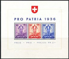 Switzerland 1936/1943 - Selection of miniature sheets - Michel miniature sheets 2, 4 and 6 to 9