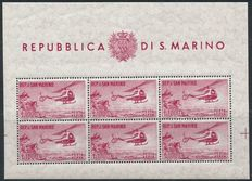 San Marino 1961 - Luchtpost - Sassone 22 in sheetlets of 6 stamps