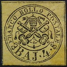 Papal States 1852 - 4 Baj yellow - Sassone 5a with certificate