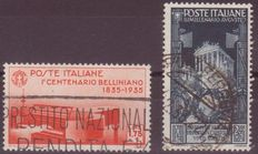 Italy 1935/1937 - 2 stamps - Sassone 392 and 425