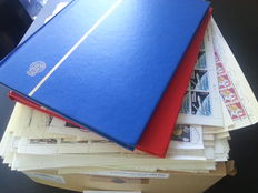 World - Batch topical stamps, sheetlets and sheet parts in two stock books and box