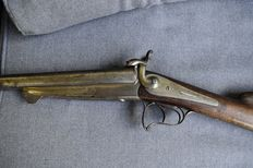 Double barrel pinfire rifle with gold inlays