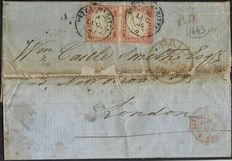 Sardinia 1856 - Old Italian States postal history - Pair of 40c pale vermilio, Sassone 16 on letter with certificate