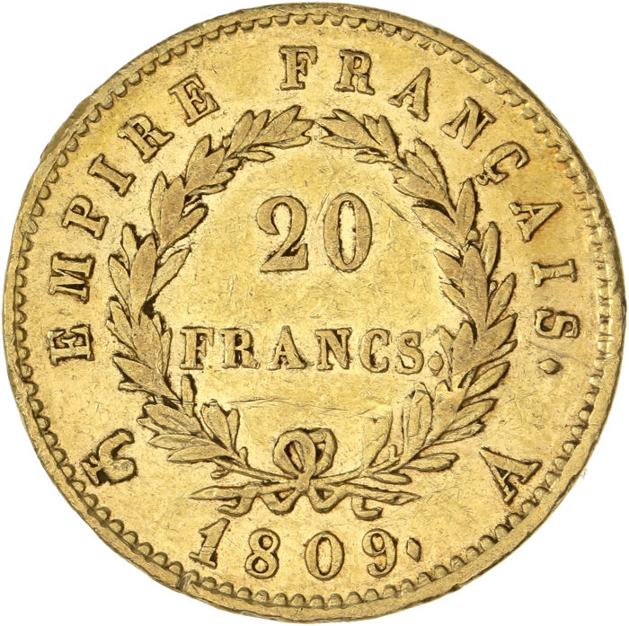 20 Francs 1809-A Napoléon I - Or