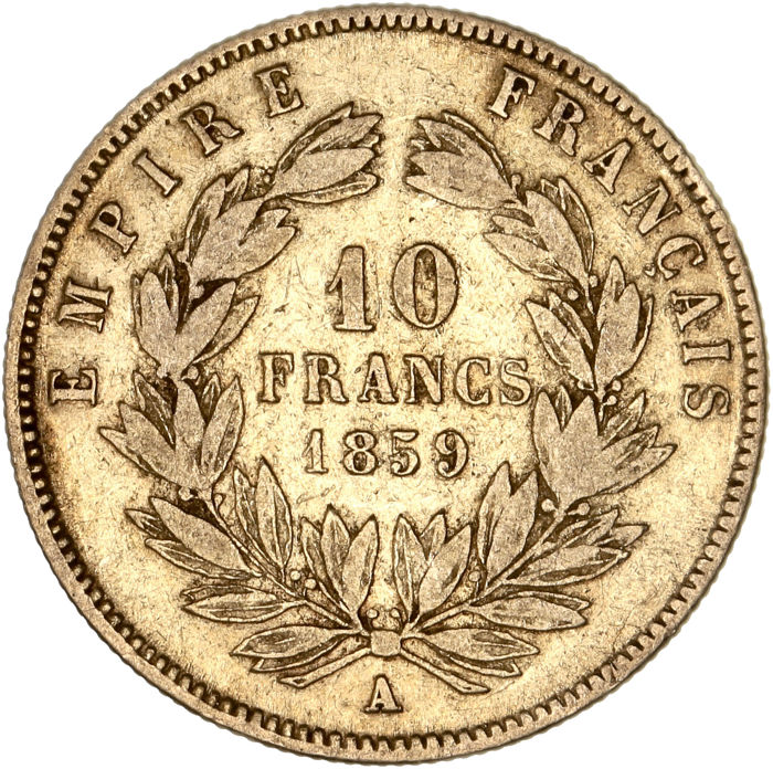 10 Francs  1859-A Napoléon III - Or