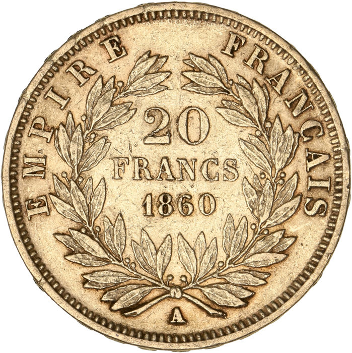 20 Francs  1860-A Napoléon III - Or
