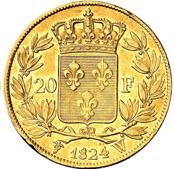 20 Francs 1824-W (Lille) - Louis XVIII  - Or