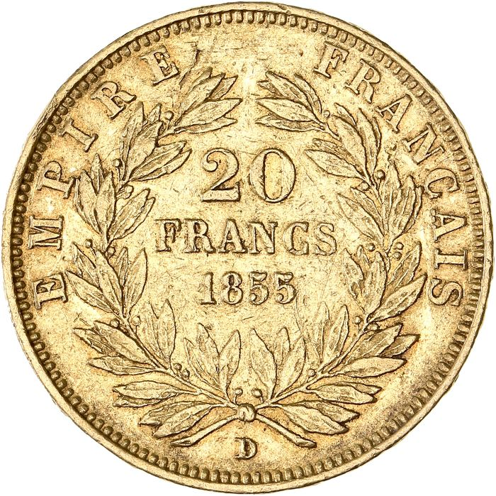 20 Francs 1855-D Napoléon III - Variété grand lion - Or