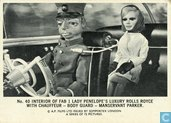 Interior of FAB 1 Lady Penelope's luxury rolls royce with chauffeur - body guard - manservant Parker.