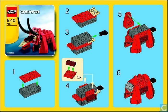 Как из лего сделать динозавра инструкция