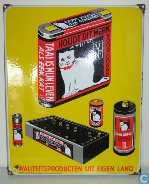 Enamel signs - Herberhold N/V - Witte Kat Batterijen