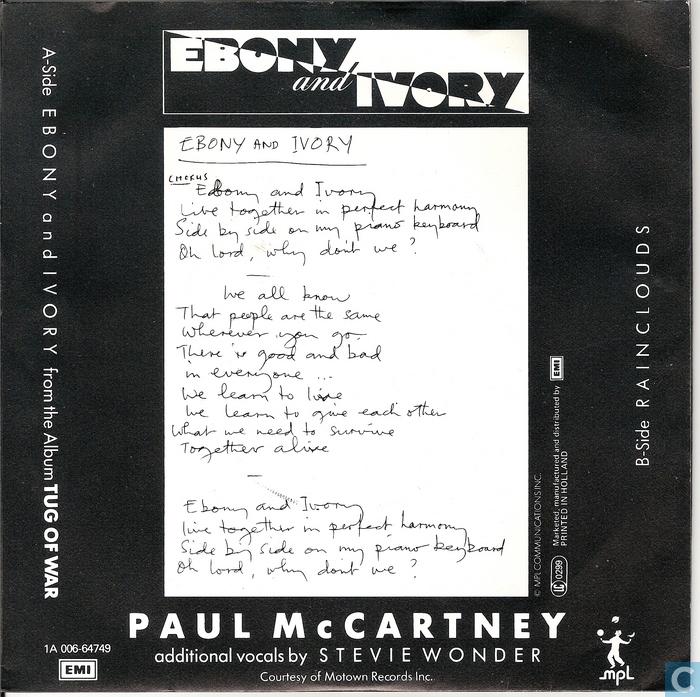 ebony and ivory paul mccartney № 274593