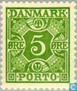 Timbres-poste - Danemark - Chiffre et quatre couronnes