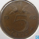 Coins - the Netherlands - Netherlands 5 cents 1962