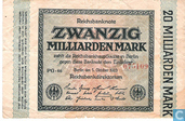 Billets de banque - Reichsbanknote - 20 milliards Mark Allemand