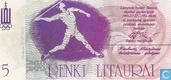 Bankbiljetten - Sportwedstrijden 27 juli - 4 augustus 1991 - Litouwen 5 Litaurai