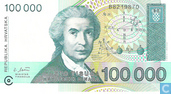 Billets de banque - Croatie - 1991-1993 Issue - Croatie 100.000 Dinara 1993