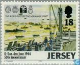 Postzegels - Jersey - Invasie Normandië 50 jaar