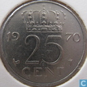Coins - the Netherlands - Netherlands 25 cents 1970