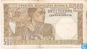 Banknotes - Srpska Narodna Banka - Serbia 500 Dinara 1941