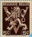 """Heraldische leeuw op V, """"BELGIQUE BELGIË"""""""