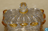 Glass / crystal - Val Lambert - deel uit Toiletset - potje met deksel