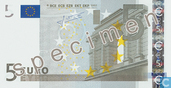 Billets de banque - Zone Euro - 2002 Dated 'Signature J.C. Trichet' Issue - Zone Euro 5 Euro (Specimen)