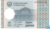 Banknoten  - National Bank of Tajikistan - Tadschikistan 5 Dirame