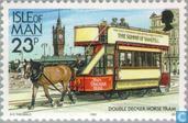 Briefmarken - Man - Straßenbahnen und Eisenbahnen