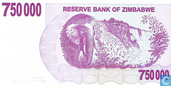 Billets de banque - Reserve Bank of Zimbabwe - 750.000 dollars au Zimbabwe