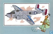 "Strips - Kuifjesbon producten - Chromo's ""Vliegtuigen '39-'45"" 48 ""North American B-25 H 'Mitchell Flying Pillbox'  - 1943 - USA"""