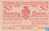 Bankbiljetten - Oberösterreich - Land - Oberösterreich 50 Heller 1921
