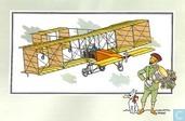 """Bandes dessinées - Kuifjesbon producten - Chromo's """"Vliegtuigen collectie B reeks 1"""" 2 """"De tweedekker 'Voisin' van Henri Farman (1907)"""""""