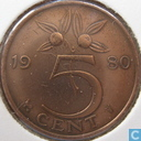 Coins - the Netherlands - Netherlands 5 cents 1980