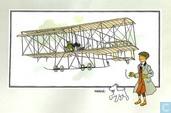 "Bandes dessinées - Kuifjesbon producten - Chromo's ""Vliegtuigen Collectie B reeks 1"" 6 ""De tweedekker 'Henri Farman' (1909)"""