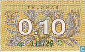 Billets de banque - Lietuvos Respublika - Lituanie 0,10 talonas