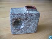 Céramique - Bruin - Trojka-stijl vaasje vierkant vaasje met concentrisch rond handvat en vierkante snuit bovenop