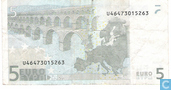 Billets de banque - Zone Euro - 2002 Dated 'Signature J.C. Trichet' Issue - Zone Euro 5 Euro U-L-T