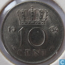 Coins - the Netherlands - Netherlands 10 cents 1964
