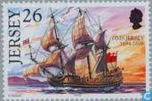 Postage Stamps - Jersey - Ships Jersey with name