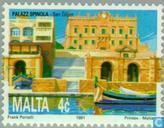 Postzegels - Malta - Spinola paleis te Valletta