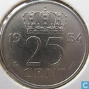 Coins - the Netherlands - Netherlands 25 cents 1954