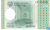 Banknoten  - National Bank of Tajikistan - Tadschikistan 20 Dirame