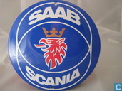 Emaille borden - Logo : Saab Scania - Emaille Reklamebord : Saab Scania