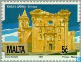 Postzegels - Malta - Kerk te Birkirkara