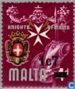 Postage Stamps - Malta - 1c imprint on 7M