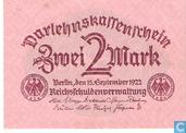 Billets de banque - Darlehnskassenschein - Reichsschuldenverwaltung, 2 mark 1922