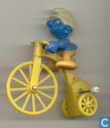 Smurf on tricycle