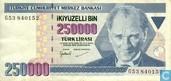 Turkey lirasi 250,000