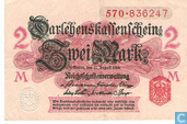 Billets de banque - Darlehenskassenschein - Reichsschuldenverwaltung, 2 Mark 1914 (52A)